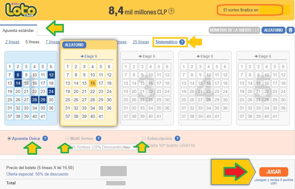 Panel de juego del Loto online